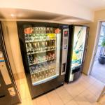 and 24 hour vending machines stocked with snacks and beverages