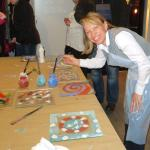 Glass painting workshop. Sarka and guides exploring new activities for our clients.