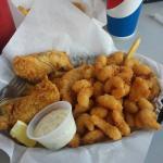 1/2 fish n chips, 1/2 shrimp- plus fries hiding underneath!