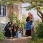 Julius Exner: A little Girl lets an Old Man sniff a Flower