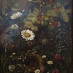 Otto Didrik Ottesen: A Bird's Nest surrounded by Wild Flowers in a Stone Wall