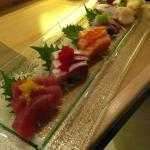 Salmon, Tuna, scalops and fish sashimi