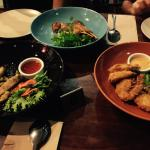 (from Left) Salt &Pepper Squid, Satay Chicken, Coconut Prawns with Sweet Mayo