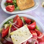 Greek salad and a fried cheese starter