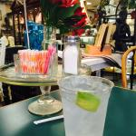 Tables with water with lemon