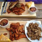 Cajun Pulled Pork and Smoke chicken, sweet potato fries, cornbread and some nice chili like sauc
