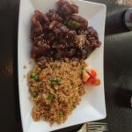 Orange chicken lunch plate