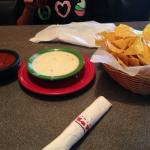 Cheese Dip, Chips & Salsa. I can make a meal just from these appetizers!