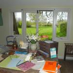 The view from Virginia Wools writing desk in her garden writing lodge.