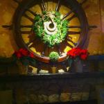 Ship's wheel decorated for the holidays