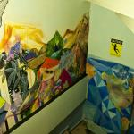 Corridors with murals by the guests