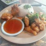 Sweet & Sour Chicken Crab Rangoons and, White Rice