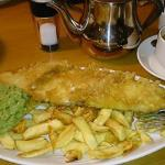 Absolutely delicious haddock, chips and mushy peas with a pot of Yorkshire tea!!