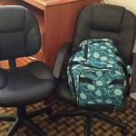 I still can't figure out the 2 office chair deal, but we used it as a luggage holder.