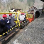 Le train minier à voie de 60 va s'engouffrer dans la mine