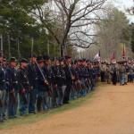 On the Stagecoach Road just outside of the McLean House, Confederate troops marching in to surre