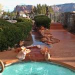 The hot tub and pool area, with beautiful views.