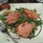 smoked salmon on toasted bread with salad and a beautiful vingerette