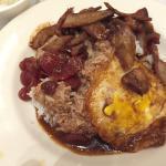 NN2 BBQ pork over rice Sausage is good Pork is a bit dry