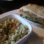 Delicious lunch! Squash and Fried Green Tomato Sandwich on Focaccia!