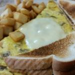Cheese and Mushroom omelet.  Home fries are french fries.