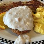 Chicken Fried Steak With Hashbrowns and Scrambled Eggs
