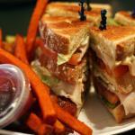 Turkey Club with Sweet Potato Fries and Raspberry Melba Sauce