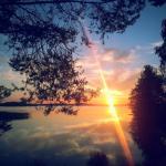 sunset at cottage Ankkuri by the lake Onkivesi