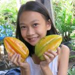 Rung's daughter Ploi with some ripe starfruit
