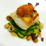 Roasted cod with salt cold croquette and artichoke puree
