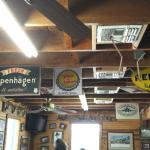 Interesting to read: hanging antique signs on Johnny's restaurant ceiling