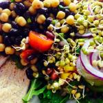 Middle Eastern Chickpea and Black Bean Salad with buckwheat crackers, homemade hummus, fresh sal