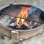 Fire pits at each site, grill included. Hinges open and closed for easy wood loading.
