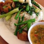 Crispy Pork with Chinese Broccoli over steamed rice!!!  This is a very solid dish and well-recei
