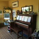 Piano in sitting room area