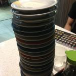 Stack of coloured plates
