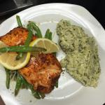Asian Salmon with basmati rice and fresh green beans