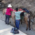 One of the guys who hired us mules - with his mum :)