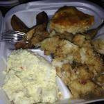 (counter clockwise fr. bottom left)Potato Salad, Conch Fritters, Macaroni & Cheese, Sweet Planta