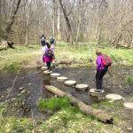 Stepping stones - this is where a hiking stick is handy.