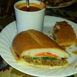Southeast Asian Bahn Mi pork sandwich with tomato soup