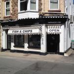 Black and white fish and chip takeaway
