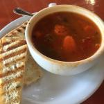 Minestrone soup with toasted bread