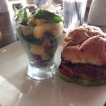 Bison burger with avocado fruit salad