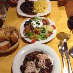 Boeuf Bourguignon, Salade, Oeufs en meulettes