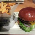 Hamburger with Cheese and Fries, Chili's Grill & Bar, Milpitas, Ca