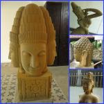 Ancient statues add a little interest to the hotel entrance and lobby.