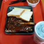 The rib platter with baked beans.