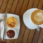 Quiche, chutney and a flat white