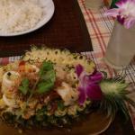 Ananas riz et fruits de mer